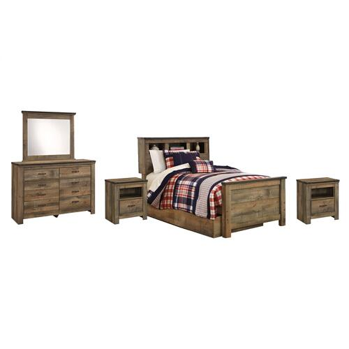 Twin Bookcase Bed With 1 Storage Drawer With Mirrored Dresser and 2 Nightstands