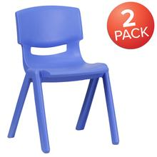 "2 Pack Blue Plastic Stackable School Chair with 13.25"" Seat Height"