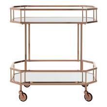 Silva 2 Tier Octagon Bar Cart - Rose Gold / Mirror