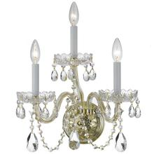 See Details - Traditional Crystal 3 Light Clear Crystal Polished Brass Sconce