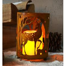 Rustica Round Deer Candle Holder w/ LED Candle