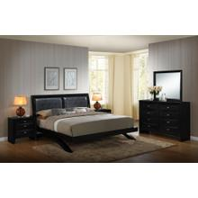 Blemerey 110 Black Wood Arch-Leg Bed Group QUEEN & KING Bed Dresser Mirror 2 Night Stands, King