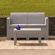 See Details - Light Gray Faux Rattan Loveseat with All-Weather Light Gray Cushions