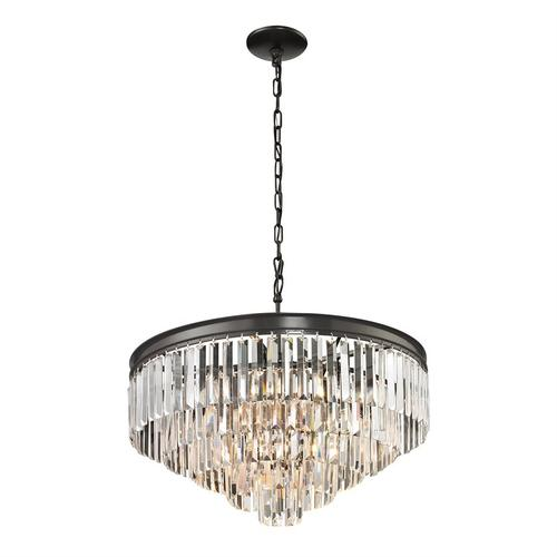 Palacial 5+1-Light Chandelier in Oil Rubbed Bronze with Clear Crystal