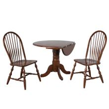 Round Drop Leaf Dining Set w/Spindleback Chairs - Chestnut (3 Piece)