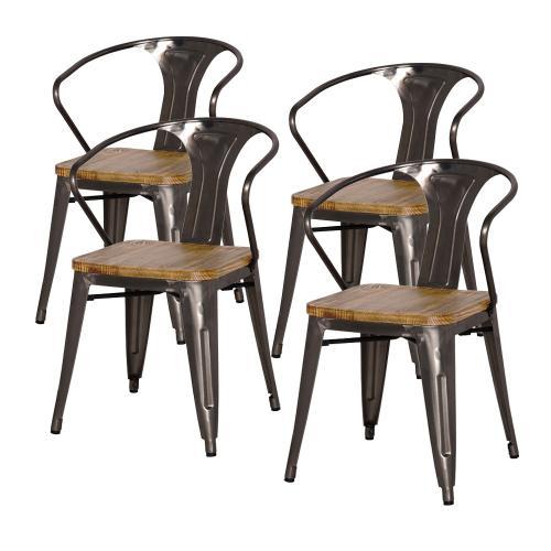 Metropolis Metal Arm Chair Wood Seat, Gunmetal