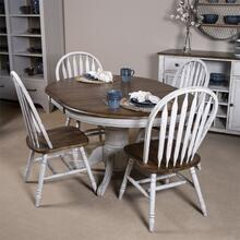 5 Piece Pedestal Table Set- White
