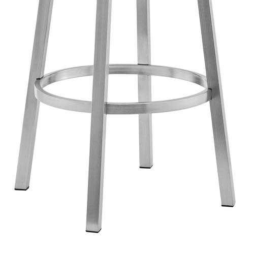 """Armen Living - Lorin 30"""" White Faux Leather and Brushed Stainless Steel Swivel Bar Stool"""