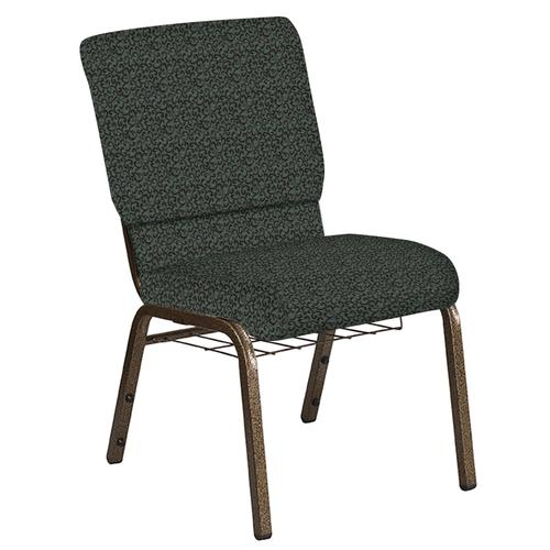 Flash Furniture - 18.5''W Church Chair in Lancaster Chocaqua Fabric with Book Rack - Gold Vein Frame