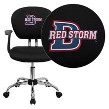 Dixie State College Red Storms Embroidered Black Mesh Task Chair with Arms and Chrome Base