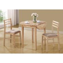 "DINING SET - 3PCS SET / NATURAL WITH A 36""DIA DROP LEAF"