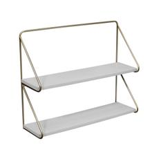 """See Details - Metal /wood 20"""" 2 Tier Wall Shelf, White/gold"""