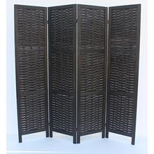 7045 BLACK Rustic Woven 4-Panel Room Divider
