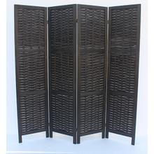 See Details - 7045 BLACK Rustic Woven 4-Panel Room Divider