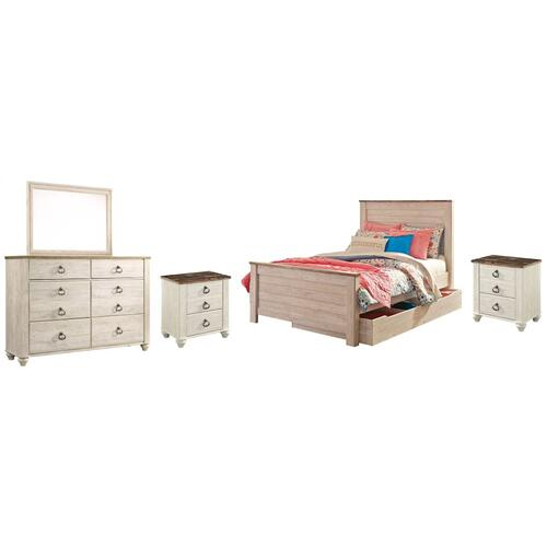 Product Image - Full Panel Bed With 1 Storage Drawer With Mirrored Dresser and 2 Nightstands