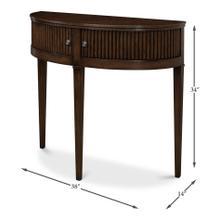 See Details - Mezzo Console Table, Burnt Brown Oak