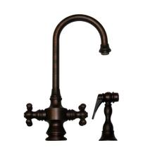 Vintage III dual-handle entertainment/prep faucet with a short gooseneck swivel spout, cross handles, and a solid brass side spray.