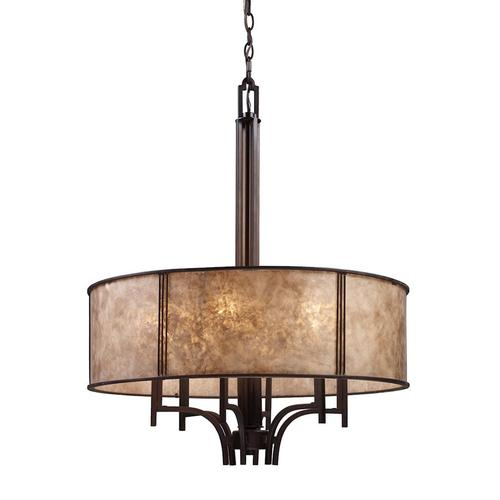 Barringer 6-Light Chandelier in Aged Bronze with Tan Mica Shade