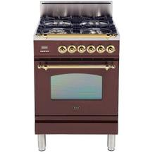 Product Image - Nostalgie 24 Inch Gas Natural Gas Freestanding Range in Burgundy with Brass Trim