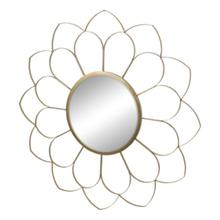 """Product Image - Metal 33"""" Flower Mirror, Gold Wb"""