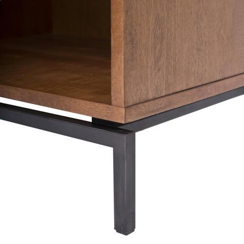 Bellevue KD End Table 1 Drawer Graphite Metal Legs, Graphite/Natural Mango