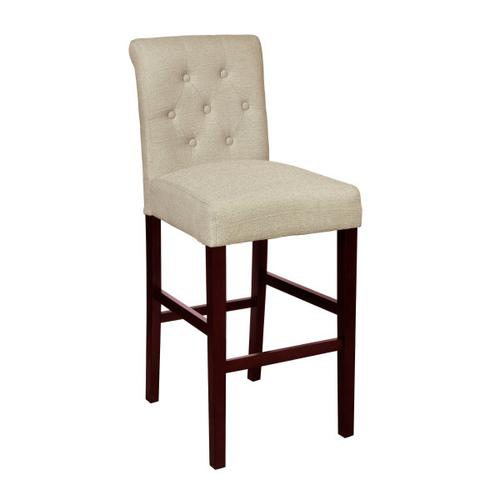 Tufted Rolled Back Upholstered Barstool in Beige