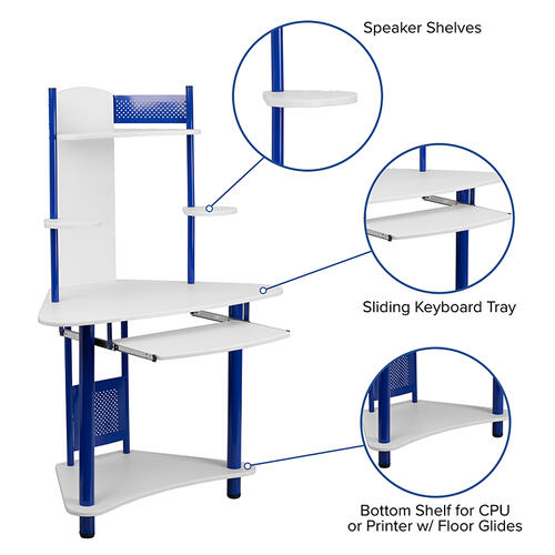 Flash Furniture - Blue Corner Computer Desk with Hutch