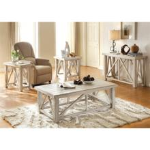 View Product - Aberdeen - Chairside Table - Weathered Worn White Finish