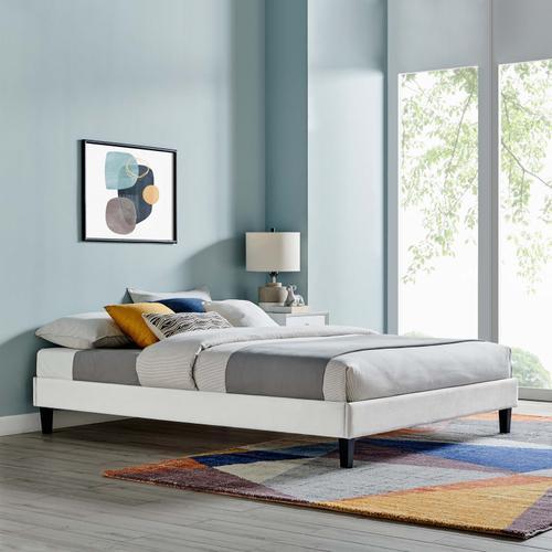 Reign Twin Performance Velvet Platform Bed Frame in Light Gray