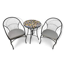 Bistro set - 24x24x28 Orange & Greys Triangle Table with 23.6x20.5x35.5 Chair Grey Linen Cushion