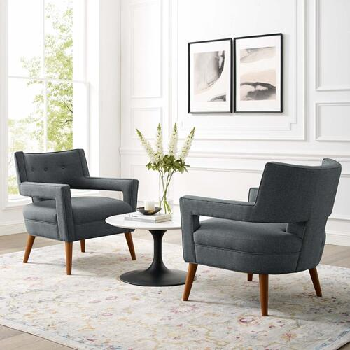 Sheer Upholstered Fabric Armchair Set of 2 in Gray