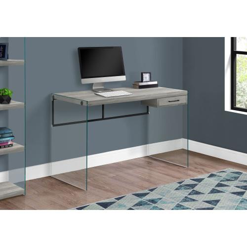 """Gallery - COMPUTER DESK - 48""""L / GREY RECLAIMED WOOD / GLASS PANELS"""