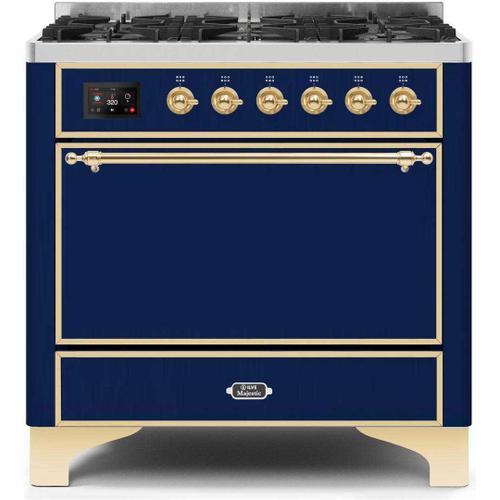 Gallery - Majestic II 36 Inch Dual Fuel Liquid Propane Freestanding Range in Blue with Brass Trim
