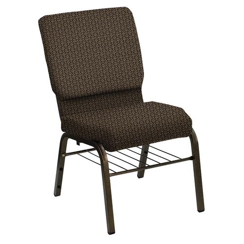 Flash Furniture - HERCULES Series 18.5''W Church Chair in Mission Black Gold Fabric with Rack - Gold Vein Frame