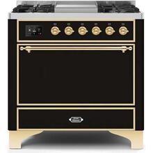 36 Inch Glossy Black Dual Fuel Natural Gas Freestanding Range