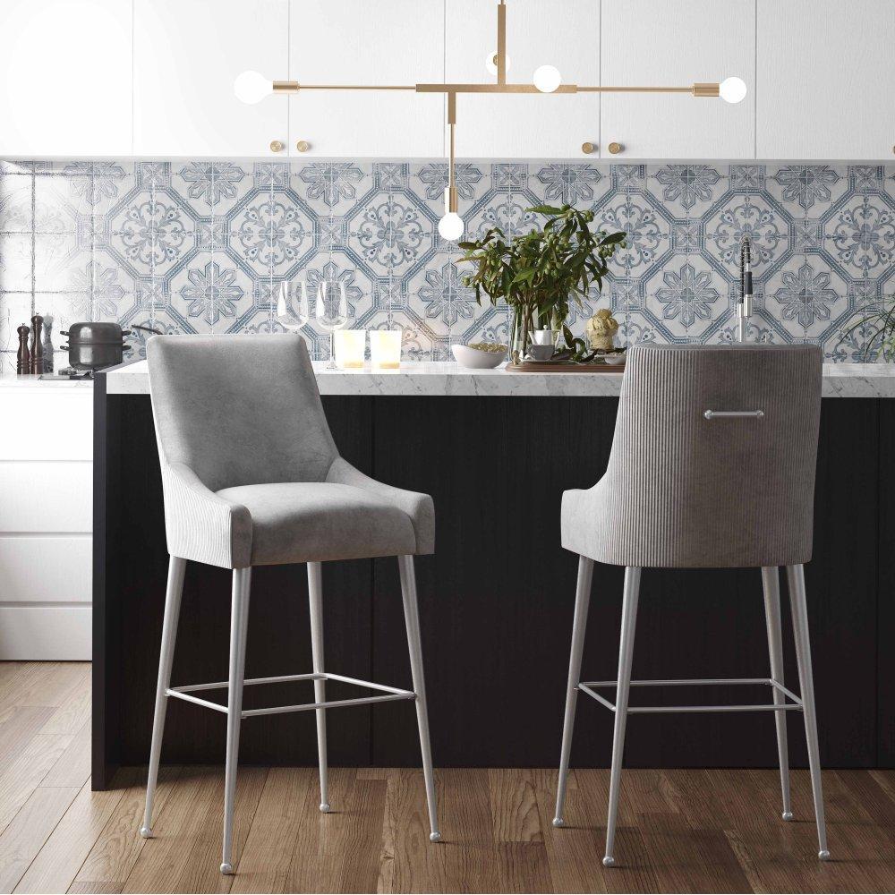 See Details - Beatrix Pleated Light Grey Velvet Counter Stool