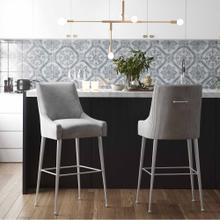 View Product - Beatrix Pleated Light Grey Velvet Bar Stool