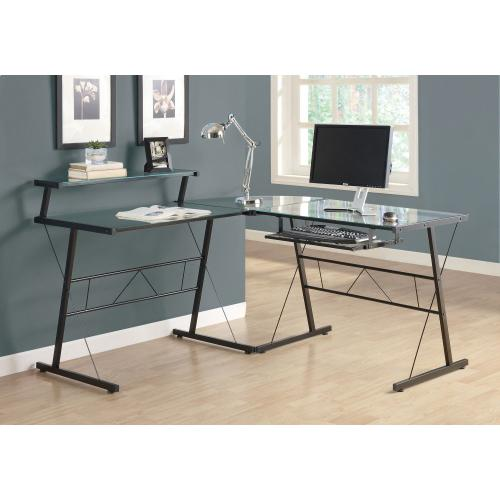 Gallery - COMPUTER DESK - BLACK METAL CORNER WITH TEMPERED GLASS