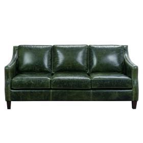Miles Top Grain Leather Sofa in Fescue Green
