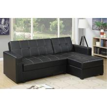 Black Chaise Sofa Bed with Storage