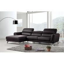 Divani Casa Doss Modern Black Eco-Leather Sectional Sofa