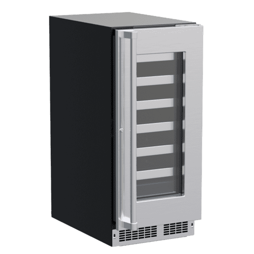 15-In Professional Built-In Single Zone Wine Refrigerator With Reversible Hinge with Door Style - Stainless Steel Frame Glass