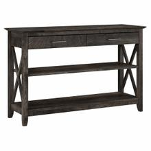 See Details - Console Table with Drawers and Shelves, Dark Gray Hickory