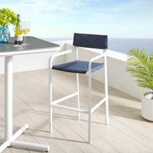 Raleigh Stackable Outdoor Patio Aluminum Bar Stool in White Navy
