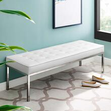 Loft Tufted Large Upholstered Faux Leather Bench in Silver White