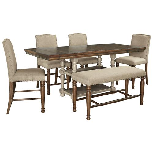 Gallery - Counter Height Dining Table and 4 Barstools and Bench