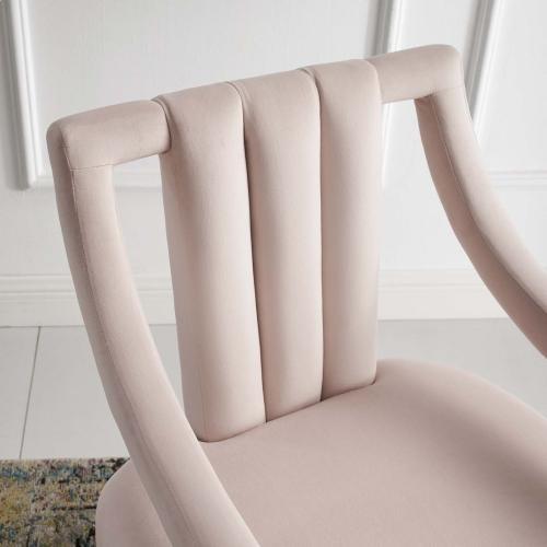 Modway - Harken Performance Velvet Accent Chair in Pink