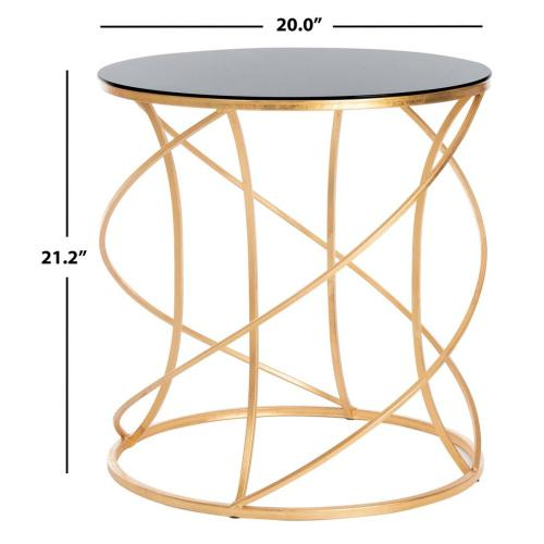 Cagney Glass Top Round Accent Table - Gold / Black