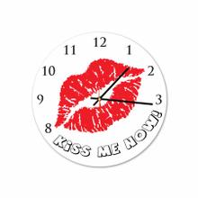 Kiss Me Now Round Acrylic Wall Clock
