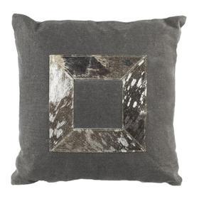Grayer Metallic Cowhide Pillow - Grey / Silver
